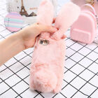 For iPhone X 6s 8 Plus XR XM Bunny Rabbit Fur Plush Fluffy Soft Phone Case Cover