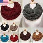 Women Warm Winter Infinity Circle Cable Knit Cowl Neck Thick Scarf Shawl Wrap Bj