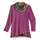 Parsley & Sage Women's Tie-Dye Crossover Tunic Top - Cowl Neckline Long Sleeves