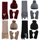 Womens Ladies Woolly Thick Knit Hat Scarf And Gloves Mittens Set Knitted Woollen