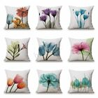 Ink Painting Flowers Cotton Linen Pillow Case Tulips Sofa Cushion Cover 45x45cm image