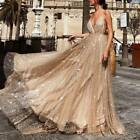 Women Wedding Plunge Sequin Long Dress Ladies Party Evening Ball Prom Gown Dress