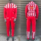Men's Troop Red | White Velour Fashion Tracksuit