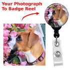 Custom Retractable Your Pets Picture Cat Dog Badge Reel ID Name Card Holder
