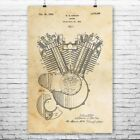 Harley Davidson Motorcycle Engine Poster Print Motorcycle Gift Vintage Harley $13.95 USD on eBay