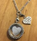 Personalised engraved girls floating memory locket necklace gift choose charm a
