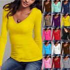 Womens Stretchy Ladies Long Sleeves V Neck Plain Casual Jersey Tunic T Shirt Top