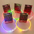 Adjustable RECHARGEABLE LED Light-up Flash GLOW COLLAR Dog Pet Safety MICRO USB