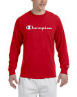 Champion Mens Classic Script Logo Long Sleeve T Shirt---Brand New---S-3XL