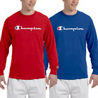 Champion Mens Classic Script Logo Long Sleeve T Shirt Brand New S 3XL