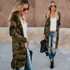 Womens Army Green Loose Camo Cardigan Sweater Open Front Jacket Lightweight