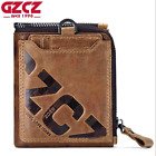 Men's Genuine Leather Cowhide Zipper Wallet Bifold Credit Card ID Holder Purse