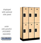 "Wood Lockers - 12"" Wide Double Tier Designer Commercial - 3 Wide - 6' High"