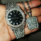MEN FASHION HIP HOP ICED OUT BLING LAB DIAMOND WATCH & NECKLACE GIFT COMBO SET  image