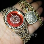 MEN HIP HOP ICED OUT BLING LAB DIAMOND RED DIAL WATCH & NECKLACE GIFT COMBO SET  image