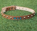 """Brown 1"""" Stud Leather Dog Collar, Personalized Pet Name, Optional Phone Number"""