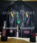 New Philip Plein Black Full Embroidery Patches Punk Unique Biker Leather Jacket