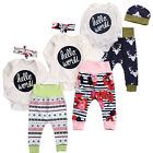 Внешний вид - Newborn Baby Girl Boys Romper Floral Pants Leggings 3pcs Outfits Clothes Spring