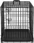 Single & Double Door Folding Metal Dog Crate Front Entry Two Slide-Bolt Metal