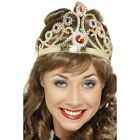 Womens Jewelled Queens Crown Fancy Dress Hat Queen Victoria Elizabeth Hen Fun