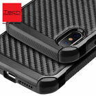 Fits iPhone Black Carbon Fiber Hybrid Rugged Hard Armor Shockproof stand Case