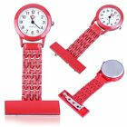 NURSE FOB WATCHES Plain Pattern Silicone Brooch Tunic Watch FREE BATTERY B3 UK