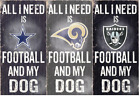 """NFL All I Need Football and My Dog Fan Creations Distressed Wood Sign 6"""" x 12"""" on eBay"""