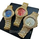 Luxury Hip Hop Iced Out Lab Diamond Gold, Red, Blue Dial Metal Wrist Bling Watch image