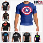 Mens Compression T-shirt Running Sports Gym Fitness 3D Print Trainning Clothing image