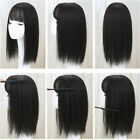Fashion Women Synthetic Hair Toupee Top Topper Hairpiece Closure With Air Bangs