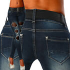 Sexy Womens Navy Blue Skinny Slim Stretchy Lace Jeans Trousers  Incl. Belt C 063