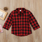 2019 Kids Baby Boys Girls Casual Plaid Long Sleeve Tops T-shirt Clothes 2-7Years
