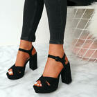 WOMENS LADIES HIGH BLOCK CHUNKY HEELS SANDALS PLATFORMS ANKLE STRAP SHOES SIZE
