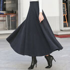 Winter Warm Retro Women Slim Pleated Long MAXI A-line Skirts Stretchy High Waist