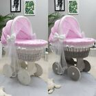 WICKER MOSES BASKET WITH HOOD TULLE + STAND + BIG WHEELS & PINK STARS BEDDING