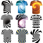 3D Optical illusion T-Shirt Hypnosis Swirl Men Women Funny Short Sleeve Tee Tops image