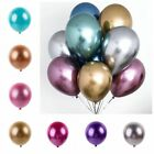 "10Pcs 12"" Metallic Chrome Balloons Bouquet Party Birthday Wedding Decor Shiny"