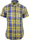 Relco Ladies Yellow Royal Tartan Check Short Sleeve Button Down Collar Shirt