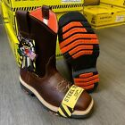 MEN'S SQUARE STEEL TOE WORK BOOTS GENUINE LEATHER INSULATED COWBOY PULL ON BOOTS