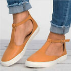 WOMENS T-BAR ANKLE STRAP SUMMER ESPADRILLES FLAT PUMPS SANDALS CASUAL SHOES SIZE
