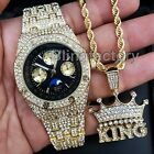 Men's Hip Hop Iced Out Lab Diamond Gold plated Watch & Crowned King Necklace Set image