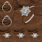 Au Women Snowflake Flower Cubic Zirconia Plated Propose Finger Ring Jewelry Gift