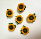 6Pcs Sunflower Vintage Kitchen Resin Cabinet Knobs Drawer Pull Cupboards Handles