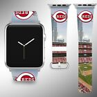 Cincinnati Reds Apple Watch Band 38 40 42 44 mm Fabric Leather Strap 03 on Ebay