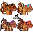 "12"" 13"" WAFFLE FLORAL PAINTED TACK YOUTH LEATHER KIDS PONY SADDLE WESTERN"
