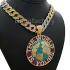 """THE WORLD IS YOURS & 18"""" ICED MULTI COLOR CUBAN CHAIN HIP HOP FASHION NECKLACE image"""
