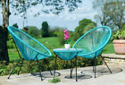 Egg Bistro Set Outdoor Garden Furniture Retro Rattan Lounge 2 Chairs Glass Table