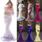 Pregnant Women Maternity Lace Maxi Dress Long Sleeve Evening Party Dresses