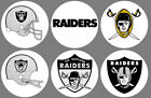 "Oakland Raiders 6 Buttons or Magnets Set 1.25"" $3.0 USD on eBay"