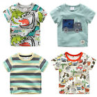 Toddler Boy Cute Graphic Printed Round Neck Tee Shirt Short Sleeves Top 2T-8